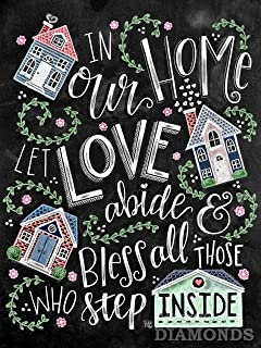 in Our Home Let Love Abide 5D Diamond Painting by Number Kits, Full Drill Crystal Rhinestone Picture Gift,Santa Claus Cros...