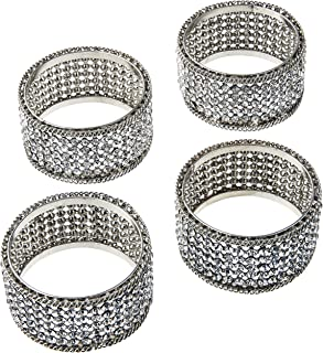 Elegance Silver Napkin Rings with Crystals (Set of 4)