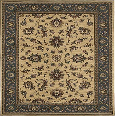 Living Comfort Alissa 8ft SquareTraditional Ivory/Blue Indoor Area Rug, Square