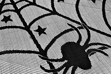 """DII 18x72"""" Polyester Lace Table Runner, Black Spider Web - Perfect for Halloween, Dinner Parties and Scary Movie Nights"""