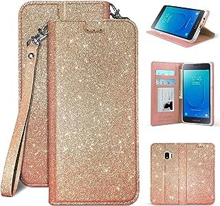 Compatible for Samsung Galaxy J2 Core (SM-J260)/ J2 Dash/ J2 Pure PU Leather Premium Luxury Sparkle Girls Bling Hybrid Glitter Pouch Folio Credit Card Slot Wallet Case Pouch [Free Emoji !] (Gold)