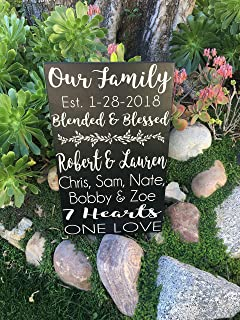 Ruskin352 Second Wedding Gift 2nd Marriage Gifts Blended Family Wedding Gifts Blended and Blessed PERSONALIZED Family Established Sign Wood Sign