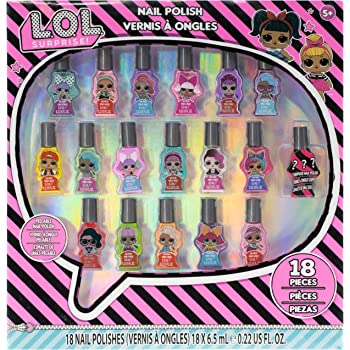 Townley Girl L.O.L. Surprise! Peel- Off Nail Polish Activity Set for Girls, Ages 5+ With 18 Nail Polish Colors with 1 Surprise Character Bottle, for Parties, Sleepovers and Makeovers