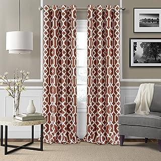 "Elrene Home Fashions 26865901238 Blackout Room Darkening Grommet Linen Window Curtain Drape Panel, 52"" x 95"", Rust, 52""x95"""