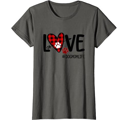 Womens Love Buffalo Plaid Heart Dog Paw Dog Mom Life Valentines Day T Shirt