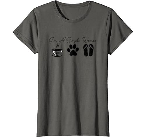 Womens I'm A Simple Woman Tshirt Flip Flops Coffee Dog Paw Lovers T Shirt