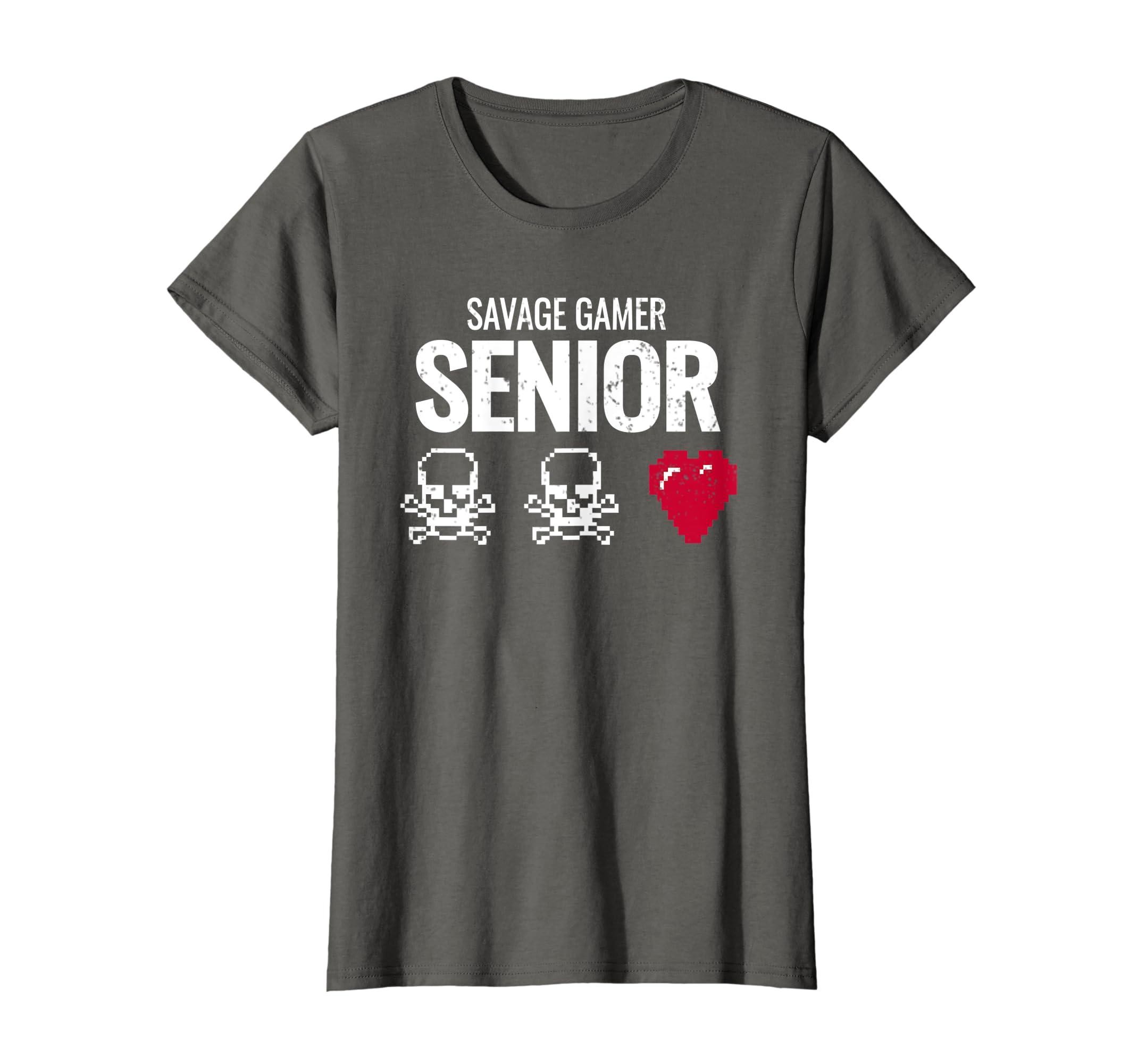 f68bd331017 Amazon.com  Funny Video Game T Shirt Women Men Savage Senior Gamer Gift   Clothing