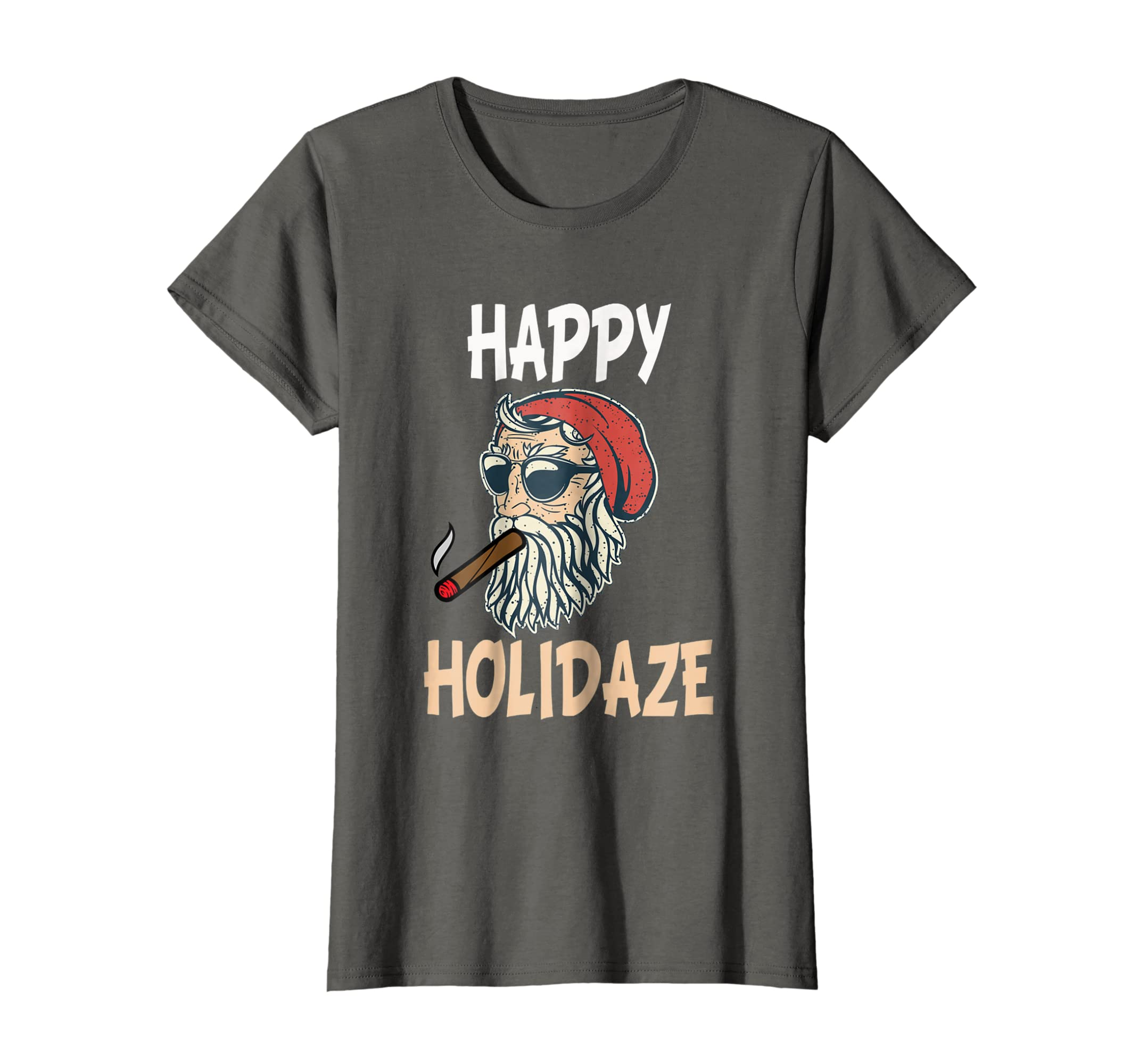 404e0cf5e Amazon.com: happy holidaze cannabis 420 weed christmas funny santa shirt:  Clothing