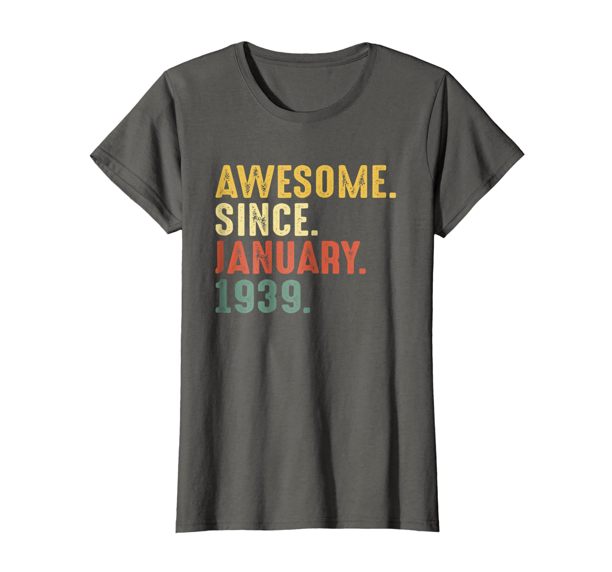 Amazon 80th Birthday Gifts Shirt Vintage Awesome Since January 1939 Clothing