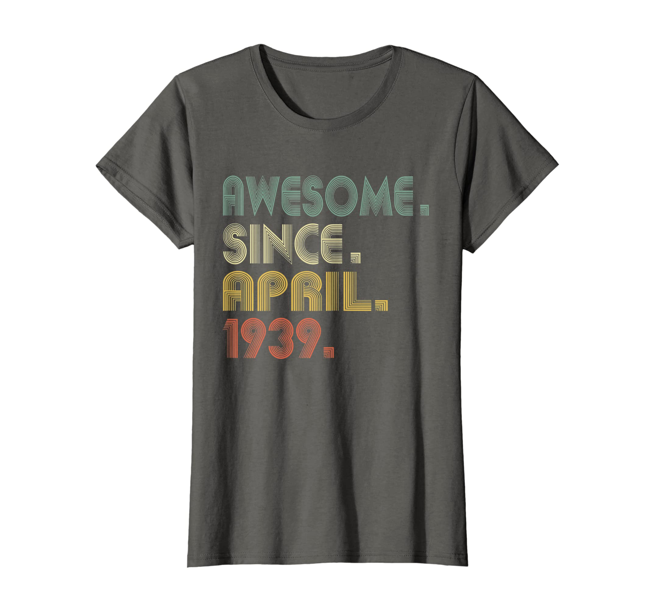 Amazon 80th Birthday Gifts T Shirt Vintage Awesome Since April 1939 Clothing