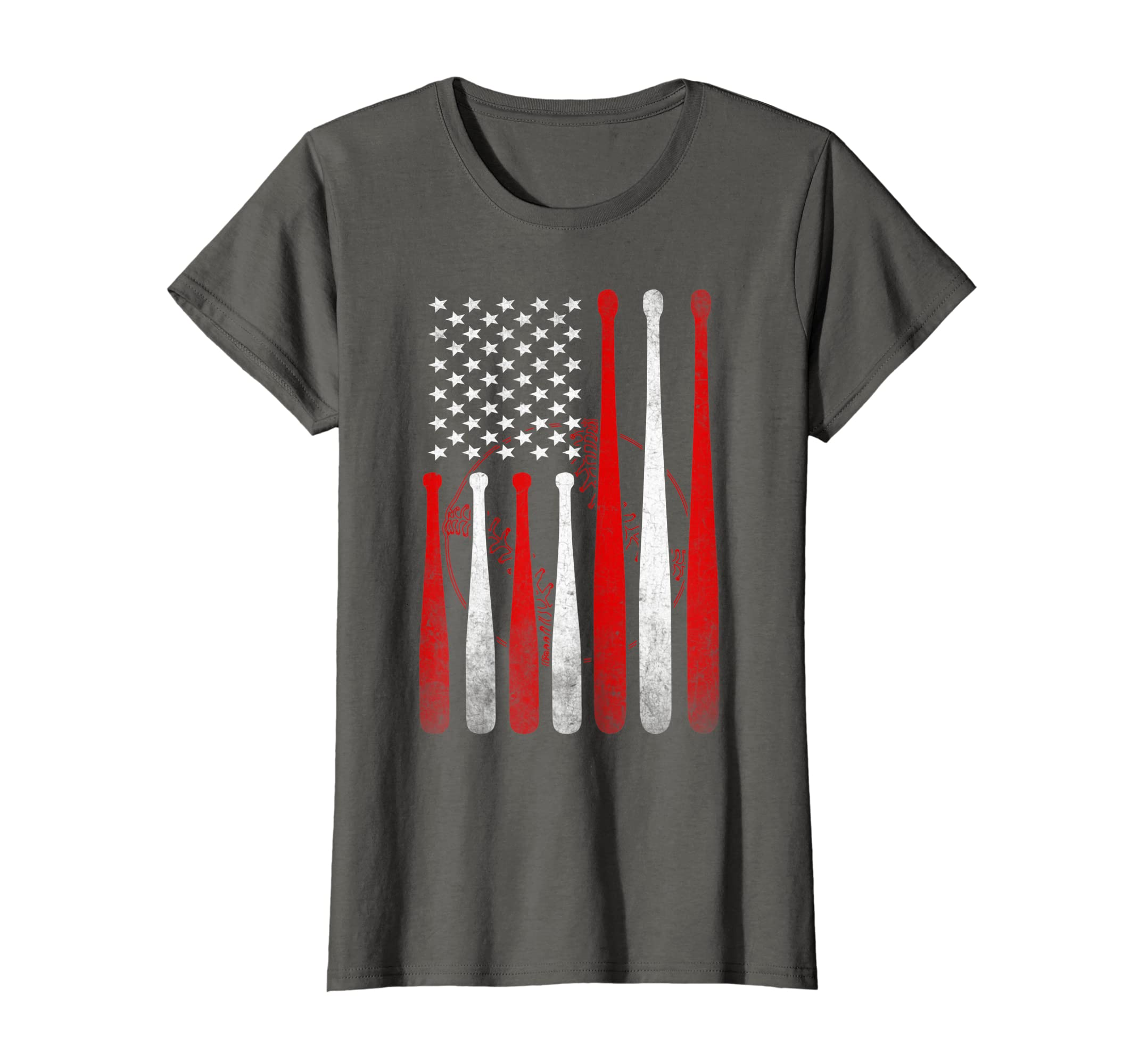edfdf6487 Amazon.com: American Flag Vintage Baseball Flag Dad Mom T shirt: Clothing