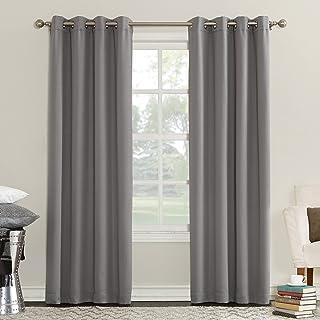"Sun Zero Eliza Room Darkening Triple Lined Curtain Panel, 50"" x 95"", Gray"