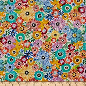 Wilmington Floral Flight Packed Floral Cream Fabric by the Yard