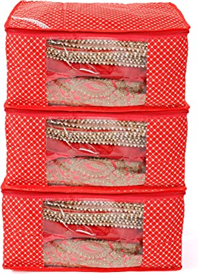 HANDICRAFT-PALACE 3 Piece of Quilted Cotton Fabric Saree Covers Women's Clothing Covers Polka Dot Sari Covers (Red)