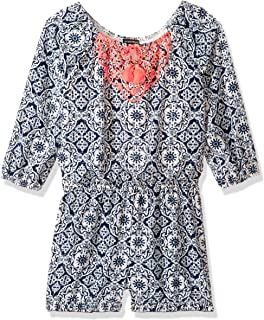 Girls' Big Long Sleeve Romper with Neon Embroidery, Navy, XL