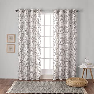 Exclusive Home Curtains Branches Linen Blend Window Curtain Panel Pair with Grommet Top, 54x63, Natural, 2 Piece