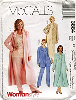 McCall's Pattern 3884 Womens/Womens Petite Jacket or Duster, Dress, Top and Pants, Size RR (18W-24W)