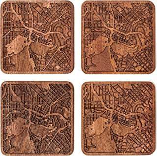 Perth Map Coaster by O3 Design Studio, Set Of 4, Sapele Wooden Coaster With City Map, Handmade