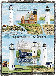 Pure Country Weavers   Lighthouses of New England Woven Tapestry Throw Blanket Collector Gift with Fringe Cotton USA 72x54
