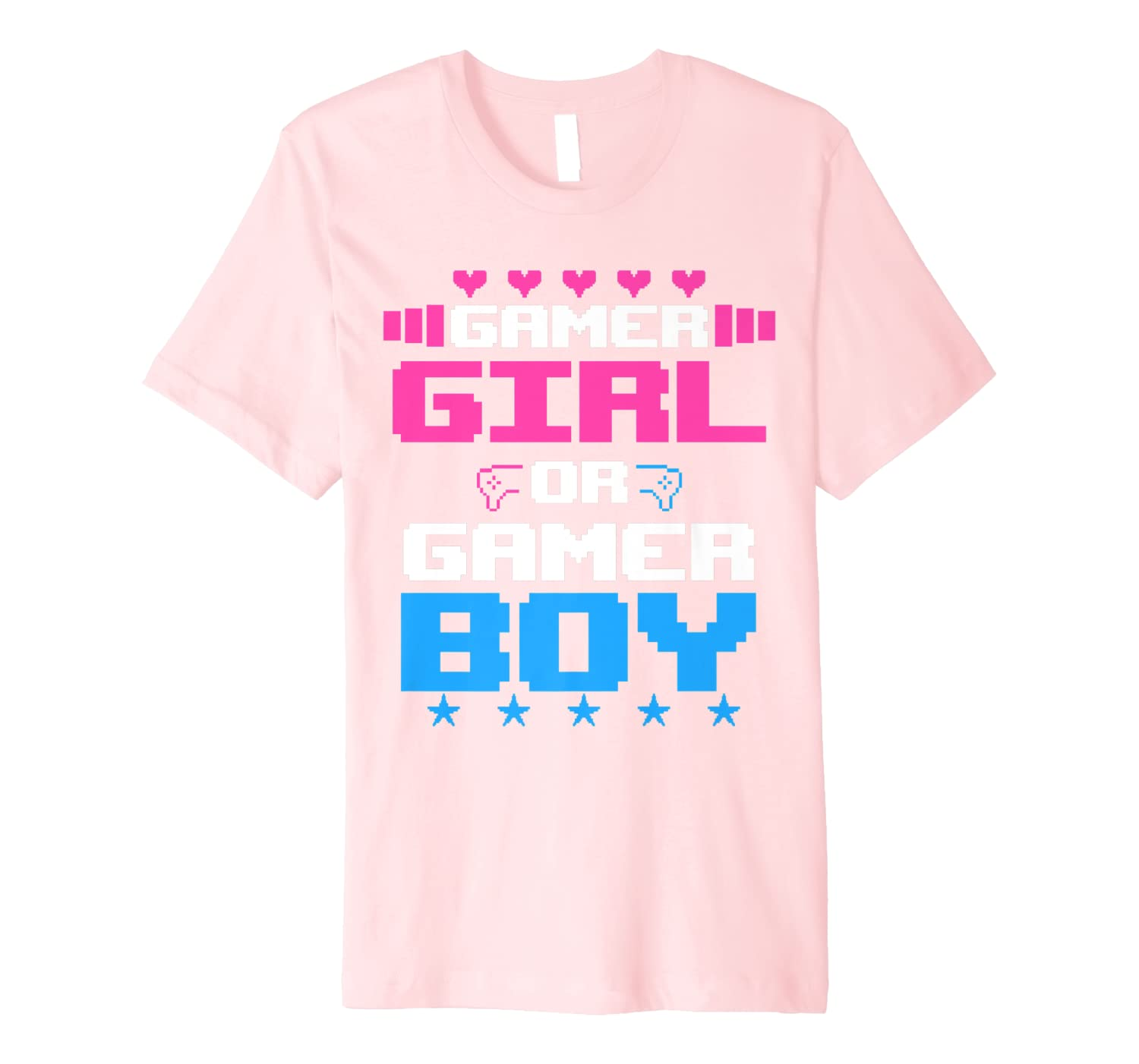 Gender Reveal Party Video Gamer Game Funny Mom Dad Gift Premium T-Shirt-Yolotee