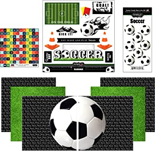 Scrapbook Customs Themed Paper and Stickers Scrapbook Kit, Go Big Soccer