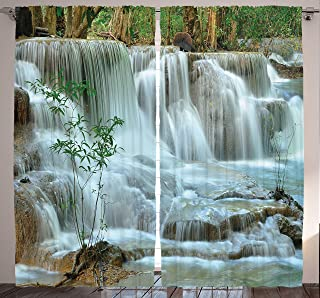 Ambesonne Nature Curtains, Waterfall Bamboo Tree Japanese Style Garden View Picture Print Jungle Stream, Living Room Bedroom Window Drapes 2 Panel Set, 108