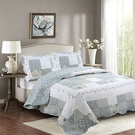 Fancy Collection 3pc King Bedspread Bed Cover Floral White Blue Beige Reversible New # Isabelle