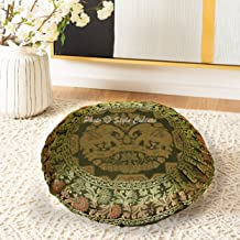 Stylo Culture Ethnic Round Throw Pillows Pleated Jacquard Floor Cushion Cover Black 17x17 Inch Bohemian Decorative Decor S...
