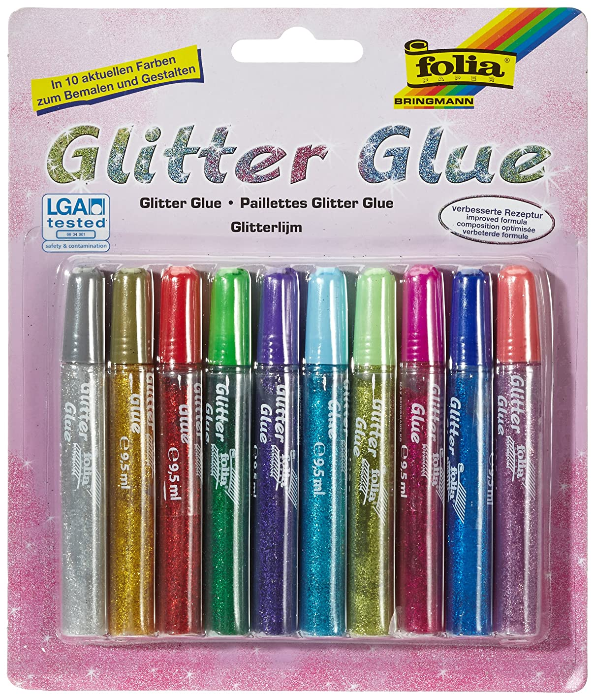 folia 574 - Glitter Glue, 10 Pens with 9.5ml Content Each, 10 Assorted Colours