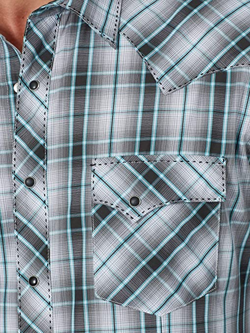 Wrangler Long Tails PolyCotton Western Plaid Pearl Snap Short Sleeve Shirt Men/'s 16 12 Chest Across 24 Made in USA