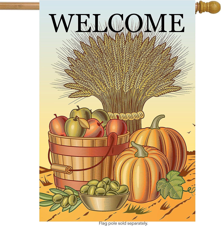 ShineSnow Thanksgiving Harvest Fruit Apple Pumpkin Autumn House Flag 28