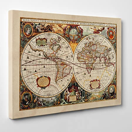 Cartina Geografica Mondo Quadro.Quadro Su Tela Intelaiato Antica Mappa 1646 Mondo World Map Cartina Geografica 70x100cm Spessore 2cm Amazon It Casa E Cucina