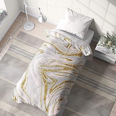 Unknown1 Boho Swirl Gold College Dorm Comforter Grey