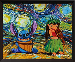 Uhomate Vincent Van Gogh Starry Night Posters Lilo and Stitch Ohana Stitch Tattoo Inspired Home Canvas Wall Art Anniversary Gifts Baby Gift Nursery Decor Living Room Wall Decor A008 (11X14)