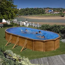 Gre Galapagos - Juego de piscina (pared de acero inoxidable, aspecto de madera, 730 x 375 x 120 cm)