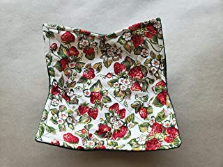 Strawberry Microwave Bowl Cozy Vintage Inspired Reversible Microwave Potholder Retro Bowl Buddy 70s Retro Kitchen Linens Handmade Housewarming Hostess Teacher Gifts Under 10
