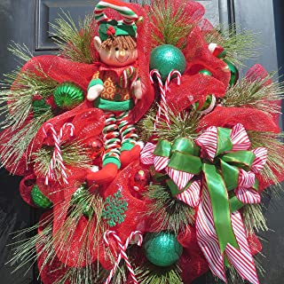 Extra large Christmas Door Wreath Children's Whimsical Elf Christmas Deco Mesh Red Green Wreath