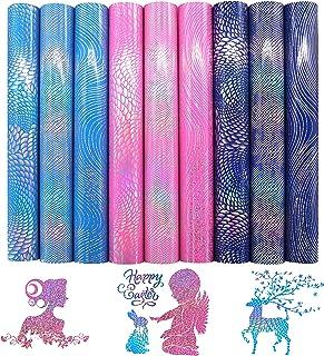 "ZAIONE Holographic Laser Heat Transfer Vinyl 9pcs/Set 12"" x 9.8"" Sheets Shiny Sparkle Iron-on HTV Craft Film Garment Cloth..."