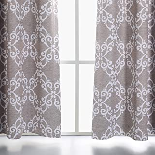 MYSKY HOME Taupe Curtains 2 Panel for Living Room Floral Moroccan Tile Print Thermal Insulated Grommet Blackout Curtains for Bedroom, 52