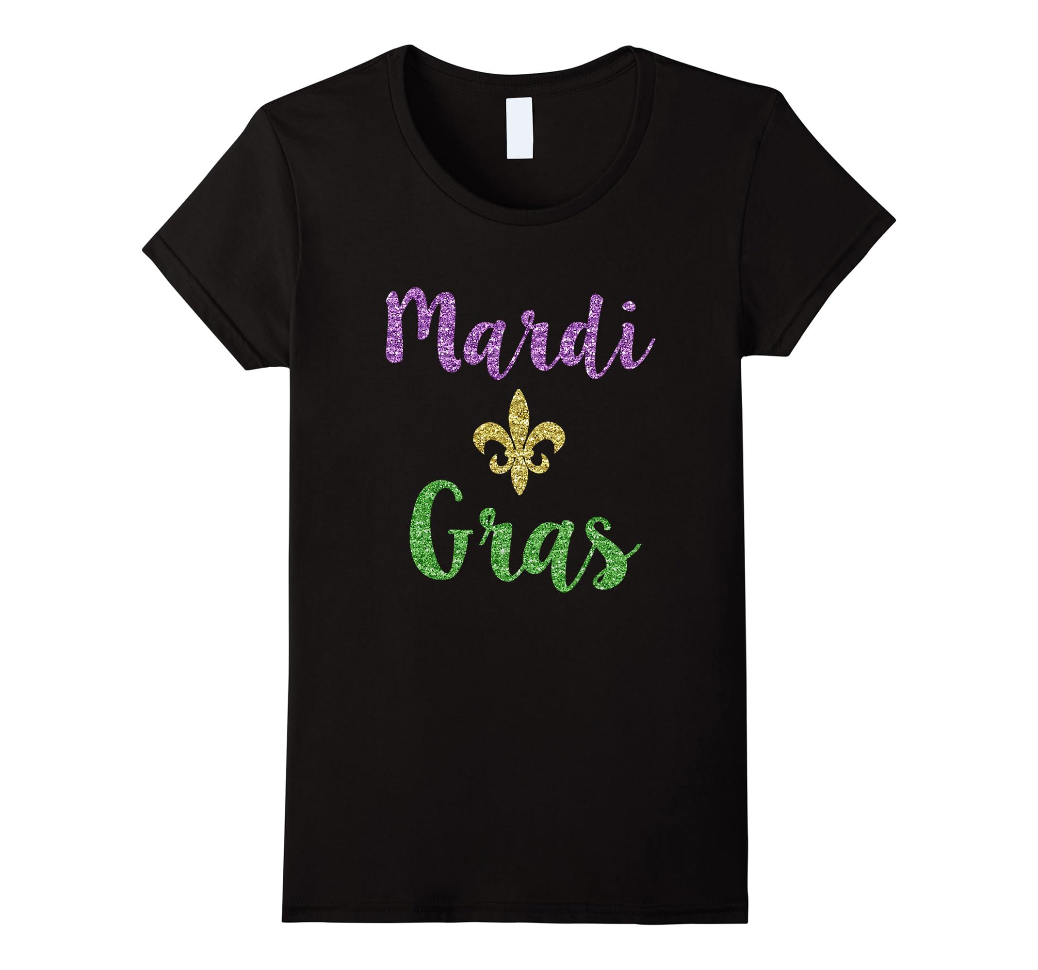 Womens Mardi Gras Glitter Sparkle Party Parade Tee Shirt New Orlean-RT