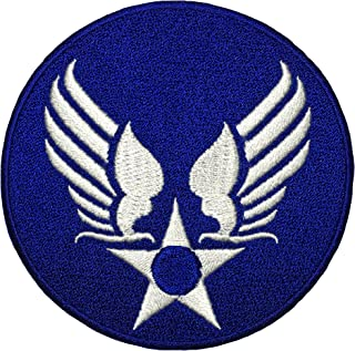 Papapatch US Air Force USAF Logo Star Wings Army Military Embroidered Sewing on Iron on Patch - Blue (USAF-WING-BL)