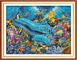 Cross Stitch Pre-Printed Kits Advanced Cross-Stitching Patterns for Adults Beginners Stamped Cross-Stitch Kit Dolphin in Sea Embroidery Kits- Needlepoint Starter Kits for Home Wall Decor