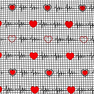 """ZAIONE Love Heart Beat Calling All Nurse White Back 100% Cotton Quilt Fabric by The Yard Width 62.7"""" Love Heart Pattern Pr..."""