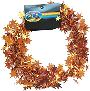 SKD 25 ft Star Shaped Tinsel Wire Garland (Copper Gold)
