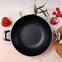 Royalford RF325WP30 Aluminium Wok Pan 30 CM - Portable Heat Resistant Handle Induction Safe Frying Pan with Durable Non-St...
