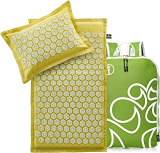New Version Professional Acupressure Mat and Pillow Set Natural Linen – Best Acupuncture Mat Gift – Back and Neck Pain Relief Reflexology Mat – for Women and Men - Stress and Muscle (Olive)