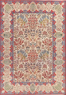 Antique Tree of Life Floral Ivory Kashan Persian Area Rug Hand-Knotted Living Room 8x11 (11' 0'' x 7' 7'')