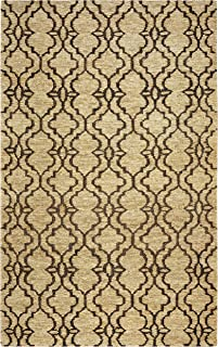Rizzy Home Whittier Collection Jute Area Rug, 5' x 8', Natural/Navy Trellis