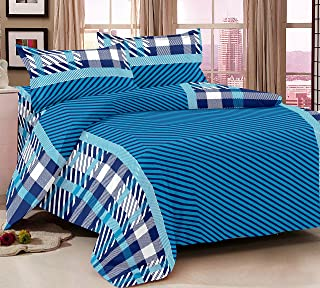 Story at Home Flat Double Bedding Set, Blue, 225 x 250 cm, MG1408, 3 Pieces