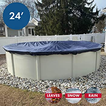 Winter Block Aboveground Pool Winter Cover, Fits 24' Round, Solid Blue – Includes Winch and Cable for Easy Installation, Superior Strength & Durability, Treated for UV Protection, WC24R, 24'